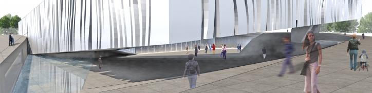 003-MTY-OBCB Vista de la plaza publica de entrada 3543x886